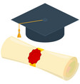 colorful cartoon diploma scroll graduation hat set vector image
