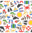 colorful summer vacation seamless pattern vector image vector image
