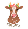 cute cow portrait calf character in cartoon style vector image