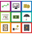 flat icon gain set of counter parasol cash and vector image vector image