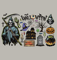 halloween vintage elements set vector image
