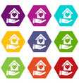 hand house icons set 9 vector image