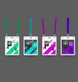 hanging id badges set vector image vector image