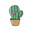 kawaii cute in love cactus plant vector image vector image