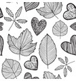leaves seamless pattern hand drawn autumn vector image
