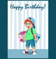 little boy with bunch of flowers and gift box card vector image