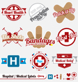 medical and hospital labels and icons vector image vector image