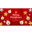 merry christmas and happy new year card with gold vector image vector image