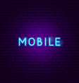 mobile neon text vector image vector image