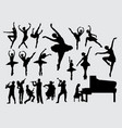 music and dance silhouette vector image vector image