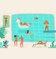 people swimming pool persons relaxing summer pool vector image