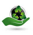 recycle symbol in hand vector image vector image