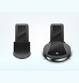 robot vacuum cleaner on docking station vector image vector image