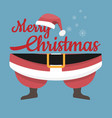 santa claus legs and hat with merry christmas vector image vector image