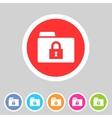 Secure locked folder icon flat web sign symbol vector image vector image