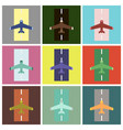 set of icons in flat design airplane runway vector image