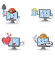 set of monitor character with miner juice heart vector image vector image