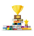 stack books with golden cup trophy and medal vector image vector image