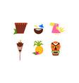 symbols of hawaiian culture set summer vacation vector image