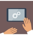 tablet pc in process and human hands vector image vector image