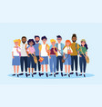 university people with backpacks and casual vector image vector image