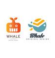 whale logo templates design set sealife summer vector image vector image