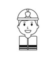 worker firefighter portrait cartoon with helmet vector image vector image