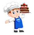 young chef holds a tray with cake vector image