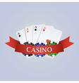 casino with ribbon playing cards and chips vector image