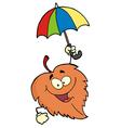 Happy Leaf With Umbrella vector image