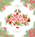 Merry christmas lettering with floral pattern vector image