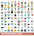 100 programming icons set flat style vector image vector image