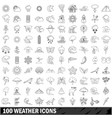 100 weather icons set outline style vector image