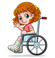 A Caucasian girl sitting on a wheelchair vector image vector image