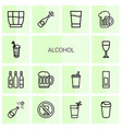 alcohol icons vector image vector image