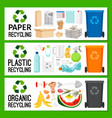 banners with paper plastic organic trash vector image vector image