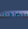 beautiful river night city panorama high vector image