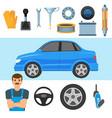 Big set of automobile parts vehicle and mechanic