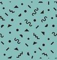 black modern retro funky symbols pattern on blue vector image vector image