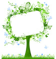 Blank tablet on spring tree vector image vector image