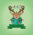 christmas background with a cute little reindeer vector image