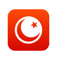 crescent and star icon digital red vector image vector image