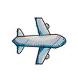 doodle airplane flight transportation style to vector image