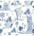 Doodle city seamless pattern vector image vector image