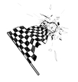 drawing checkered flag in dynamic style vector image