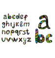 english multicolored alphabet hand draw doodle vector image