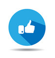 flat blue button hand like icon vector image