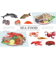 flat seafood colorful composition vector image vector image