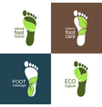 Footprints with green leaves vector image vector image