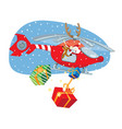 funny santa claus and reindeer delivering gifts vector image